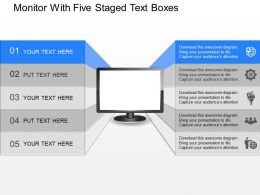 da_monitor_with_five_staged_text_boxes_powerpoint_template_Slide01