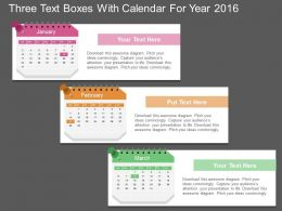 da Three Text Boxes With Calendar For Year 2016 Flat Powerpoint Design