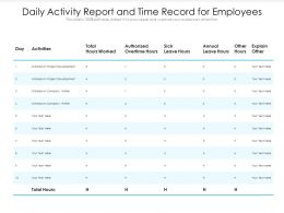 Daily Activity Report And Time Record For Employees