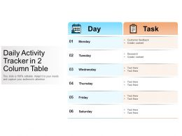 Daily Activity Tracker In 2 Column Table