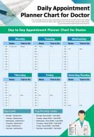 Daily Appointment Planner Chart For Doctor Presentation Report Infographic PPT PDF Document