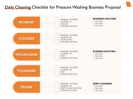 Daily Cleaning Checklist For Pressure Washing Business Proposal Ppt Powerpoint Slides
