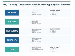 Daily Cleaning Checklist For Pressure Washing Proposal Template Ppt Slides