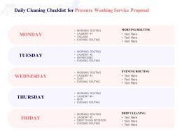 Daily Cleaning Checklist For Pressure Washing Service Proposal Ppt Powerpoint Presentation Icon
