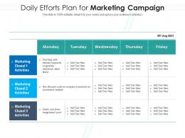 Daily Efforts Plan For Marketing Campaign