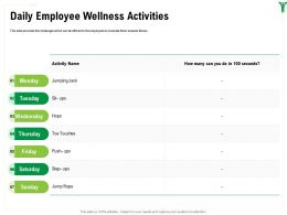Daily Employee Wellness Activities M1602 Ppt Powerpoint Presentation Slides Layouts