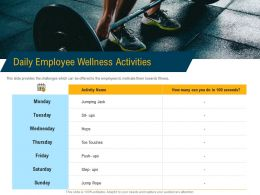 Daily Employee Wellness Activities M3104 Ppt Powerpoint Presentation Gallery Samples