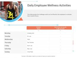 Daily Employee Wellness Activities Office Fitness Ppt Infographics