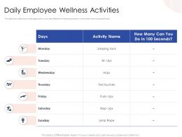 Daily Employee Wellness Activities Toe Touches Powerpoint Presentation Icons