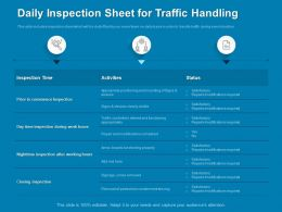 Daily Inspection Sheet For Traffic Handling Hours Powerpoint Presentation Format Ideas