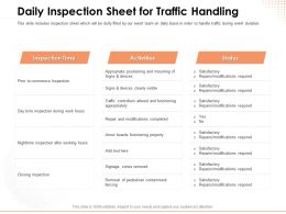 Daily Inspection Sheet For Traffic Handling Visible Ppt Powerpoint Presentation Ideas