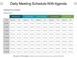 Daily Meeting Schedule With Agenda Sample Of Ppt