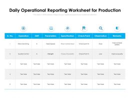 Daily Operational Reporting Worksheet For Production