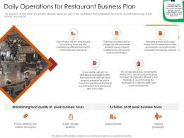 Daily Operations For Restaurant Busrestaurant Business Plan Restaurant Business Plan Ppt Grid