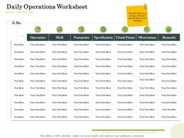 Daily Operations Worksheet Administration Management Ppt Inspiration