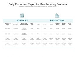 Daily Production Report For Manufacturing Business