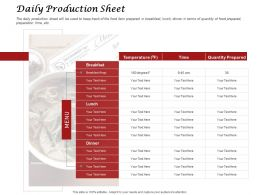 Daily Production Sheet Ppt Powerpoint Presentation Visual Aids Slides