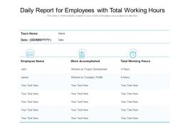 Daily Report For Employees With Total Working Hours
