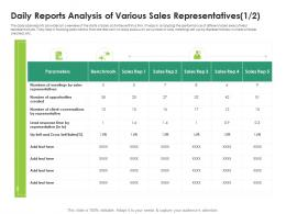 Daily Reports Analysis Of Various Sales Representatives Rates Opportunities Cross Sell Ppt Files