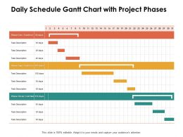 Daily Schedule Gantt Chart With Project Phases Ppt Powerpoint Presentation Templates