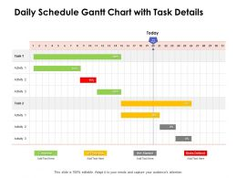 Daily Schedule Gantt Chart With Task Details Ppt Powerpoint Presentation Pictures