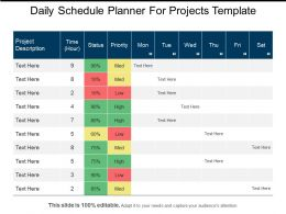 Daily Schedule Planner For Projects Template Ppt Background