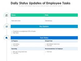 Daily Status Updates Of Employee Tasks