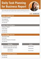 Daily Task Planning For Business Report Presentation Report Infographic PPT PDF Document