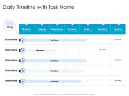 Daily Timeline With Task Name Leaders Vs Managers Ppt Powerpoint Presentation Shapes