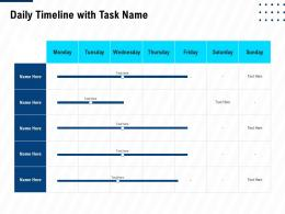 Daily Timeline With Task Name Leadership And Management Learning Outcomes Ppt Smartart