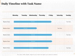 Daily Timeline With Task Name Ppt Powerpoint Presentation Infographic
