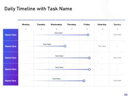 Daily Timeline With Task Name Strategic Initiatives Global Expansion Your Business Ppt Structure