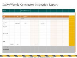 Daily Weekly Contractor Inspection Report Branch Ppt Powerpoint Presentation Gallery Clipart Images