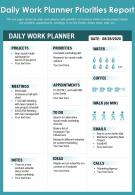 Daily Work Planner Priorities Report Presentation Report Infographic PPT PDF Document