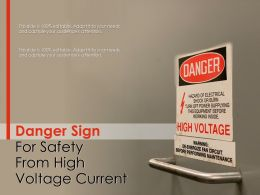 Danger Sign For Safety From High Voltage Current