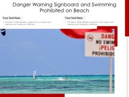 Danger Warning Signboard And Swimming Prohibited On Beach