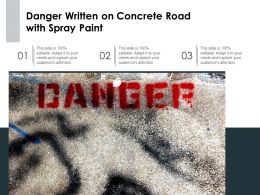 Danger Written On Concrete Road With Spray Paint