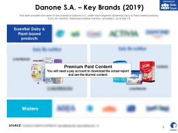 Danone SA Key Brands 2019