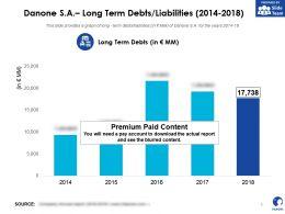 Danone SA Long Term Debts liabilities 2014-2018