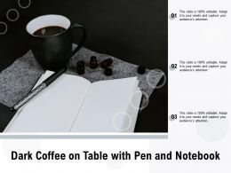Dark Coffee On Table With Pen And Notebook