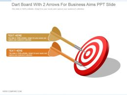 Dart Board With 2 Arrows For Business Aims Ppt Slide
