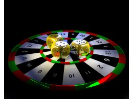 Dart Board With Yellow Colored Dices Target Stock Photo
