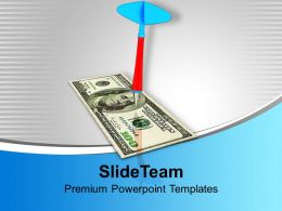 Dart Hitting Dollar Finance Target PowerPoint Templates PPT Themes And Graphics 0113