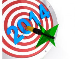 Dart Hitting Target For New Year 2014 Stock Photo