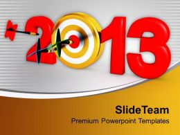 Dart Strike The Goal New Year PowerPoint Templates PPT Themes And Graphics 0113