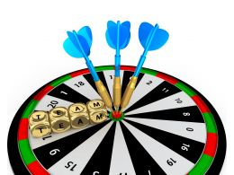 Dartboard With Blue Arrows And Dices Of Team Stock Photo