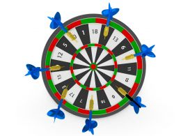 Darts Hitting On Board Showing Business Target Concept Stock Photo