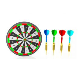 Darts With Dartboard Showing The Concept Of Business Target Stock Photo