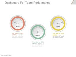 Dashboard For Team Performance Powerpoint Slide Graphics