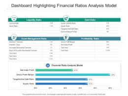 Dashboard Highlighting Financial Ratios Analysis Model